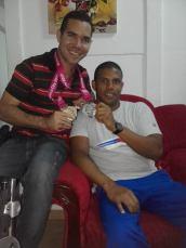 Con el nadador Lorenzo Pérez